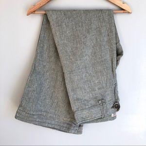 Free People Gray Linen Wide Leg Low Rise Pants
